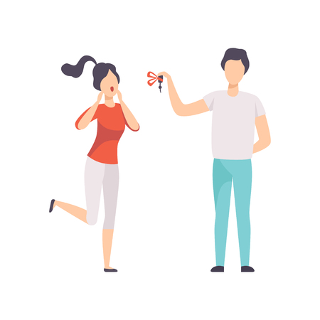 Young man giving the keys to the car to happy young woman, people celebrating holidays concept vector Illustration isolated on a white background. 向量圖像
