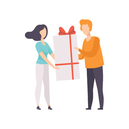 Young man giving large gift box decorated with red ribbon bow to beautiful brunette girl, people celebrating holidays concept, congratulations to a friend vector Illustration isolated on a white background.
