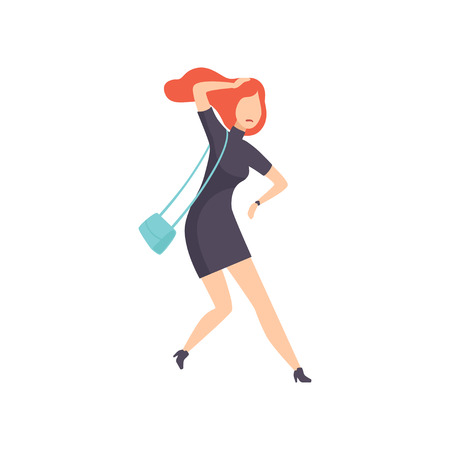 Young woman hurrying up looking at watch, businesswoman character is late for work vector Illustration isolated on a white background.