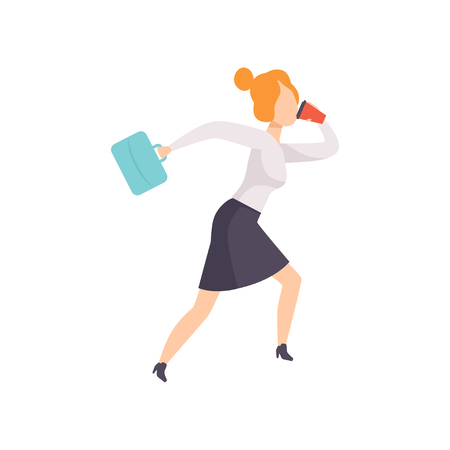 Young woman talking by phone while running to work, businesswoman character is late for work vector Illustration isolated on a white background. Stock Vector - 112194958