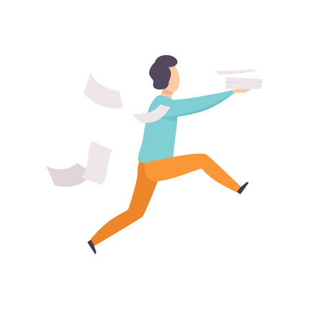 Man is late for work or at meeting, running with falling papers, busy and late businessman vector Illustration isolated on a white background. Stock Vector - 112194961