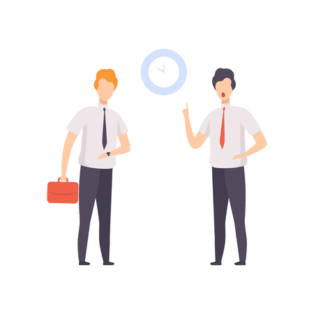 Angry boss pointing to time on the clock to employee who came to work late vector Illustration isolated on a white background. Ilustração