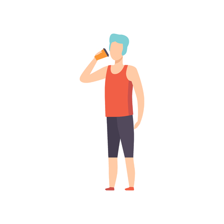 Young man drinkig coffee, guy holding paper take away coffee cup vector Illustration isolated on a white background. Vecteurs