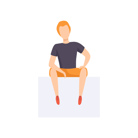 Casually dressed young man sitting, front view vector Illustration isolated on a white background.