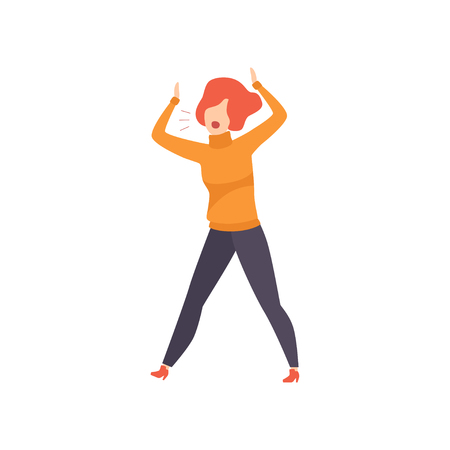 Casually dressed woman shouting in a rage, emotional girl feeling anger vector Illustration isolated on a white background.