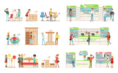 Shoppers choosing and buying furniture in shop, people buying drugs, vitamins and medications in pharmacy vector Illustrations isolated on a white background.