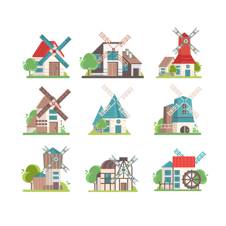 Traditional rural windmill set, ecological agricultural manufacturing vector Illustrations isolated on a white background. 版權商用圖片 - 112133356