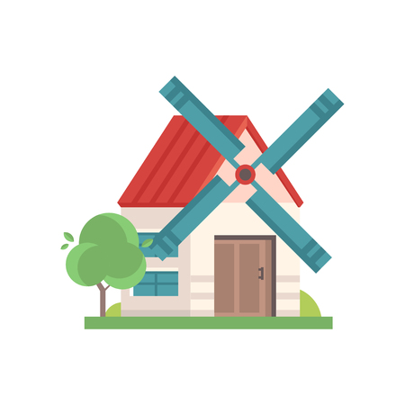 Rural windmill building, ecological agricultural manufacturing vector Illustrations on a white background.