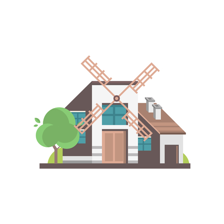 Modern windmill building, ecological agricultural manufacturing vector Illustrations isolated on a white background. 版權商用圖片 - 106090466
