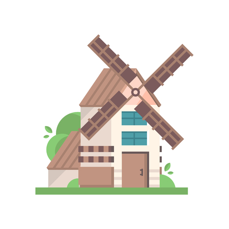 Modern rural windmill building, ecological agricultural manufacturing vector Illustrations isolated on a white background.