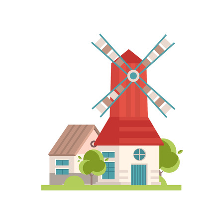 Traditional rural windmill building with red roof, ecological agricultural manufacturing vector Illustrations isolated on a white background. Illustration