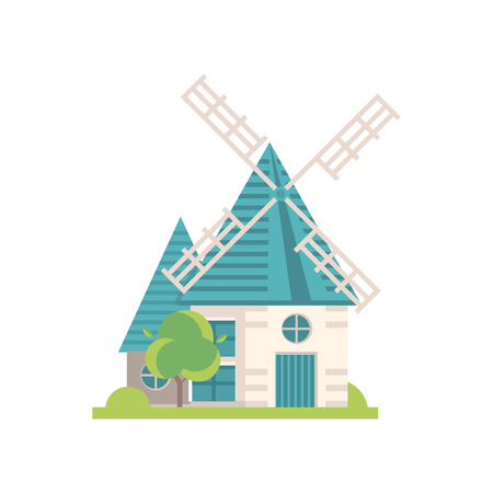 Traditional windmill building, ecological agricultural manufacturing vector Illustrations isolated on a white background. Illustration