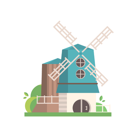 Traditional rural windmill, building with blue roof, ecological agricultural manufacturing vector Illustrations isolated on a white background.