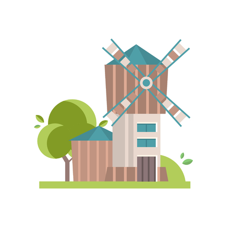 Wooden mill building vector Illustrations isolated on a white background.
