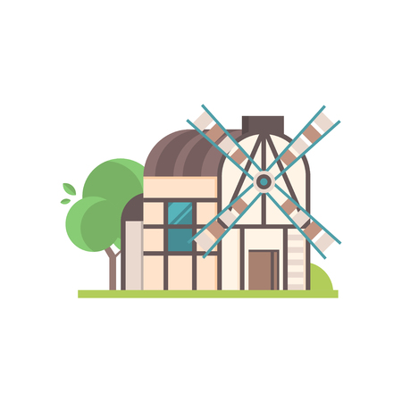 Traditional ancient rural windmill, ecological agricultural manufacturing vector Illustrations isolated on a white background.