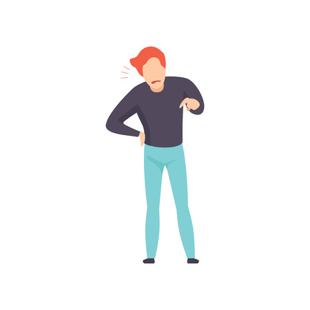 Casually dressed man in a rage, emotional guy feeling anger vector Illustration isolated on a white background. Иллюстрация