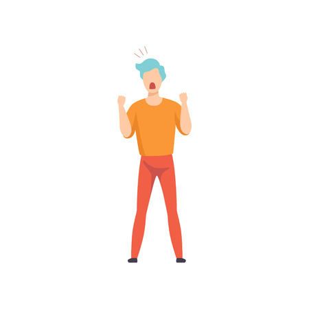 Casually dressed man shouting in a rage, emotional guy feeling anger vector Illustration isolated on a white background. Illustration