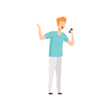 Furious man shouting into a mobile phone, emotional guy feeling anger vector Illustration isolated on a white background.