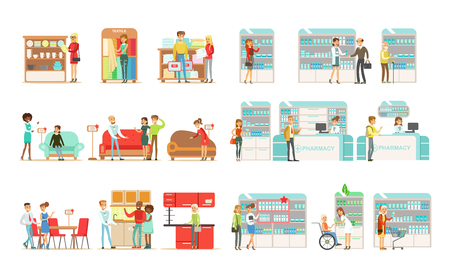People choosing and buying furniture in shop, shoppers buying drugs, vitamins and medications in pharmacy vector Illustrations isolated on a white background. Vettoriali