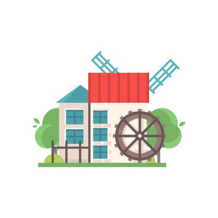 Traditionelle ländliche Wassermühle, ökologische landwirtschaftliche Herstellungsvektorillustrationen lokalisiert auf einem weißen Hintergrund.