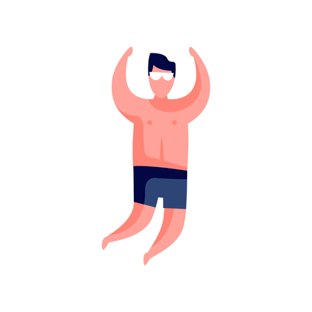 Guy sunbathing, top view, young man relaxing at the beach vector Illustration isolated on a white background.