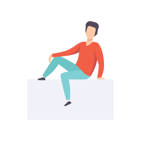 Young brunette man sitting in casual clothes, side view vector Illustration isolated on a white background.