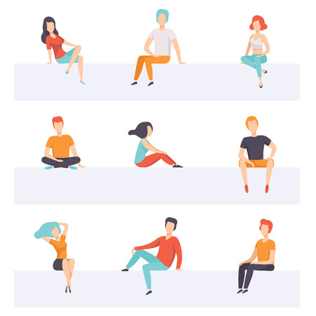 Diverse people sitting on different positions set, young faceless guys and girls in casual clothes sitting down vector Illustrations isolated on a white background. Ilustração