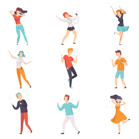 Diverse people listening music with headphones and dancing set, young faceless guys and girls in casual clothes with headphones and audio players vector Illustrations isolated on a white background.