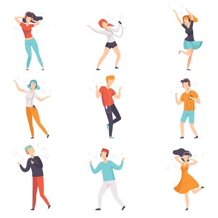 Diverses personnes écoutant de la musique avec des écouteurs et un ensemble de danse, de jeunes gars sans visage et des filles en vêtements décontractés avec des écouteurs et des lecteurs audio vector Illustrations isolées sur fond blanc.