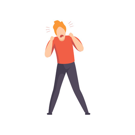 Casually dressed furious man shouting loudly, emotional guy feeling anger vector Illustration isolated on a white background. Ilustrace