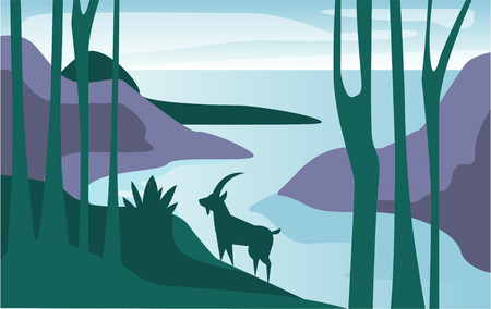 Beautiful scene of nature, peaceful summer landscape with lake and mountain goat, template for banner, poster, magazine, cover horizontal vector Illustration, web design Vectores