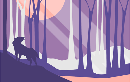 Beautiful scene of nature, peaceful landscape with forest and wolf at night time, template for banner, poster, magazine, cover horizontal vector Illustration, web design