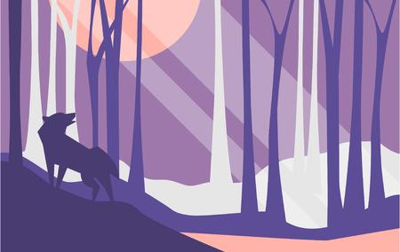 Bella scena della natura, paesaggio tranquillo con foresta e lupo di notte, modello per banner, poster, riviste, copertina orizzontale vettoriale illustrazione, web design
