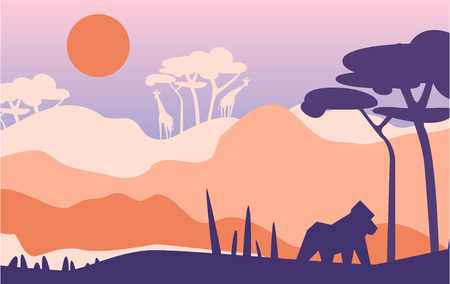 Beautiful scene of nature, peaceful Afrian landscape with moutains, giraffes and gorilla, template for banner, poster, magazine, cover horizontal vector Illustration, web design