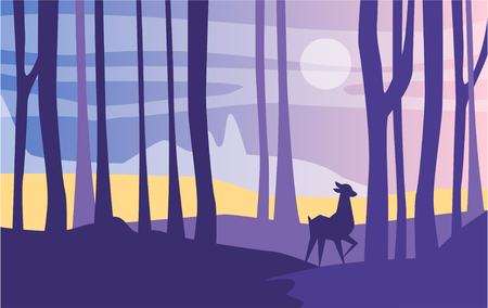 Beautiful scene of nature, peaceful landscape with forest and roe deer at night time, template for banner, poster, magazine, cover horizontal vector Illustration, web design