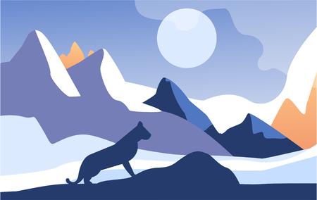 Belle scène de la nature, paysage de montagne paisible avec lynx pendant la nuit, modèle de bannière, affiche, magazine, couverture vecteur horizontal Illustration