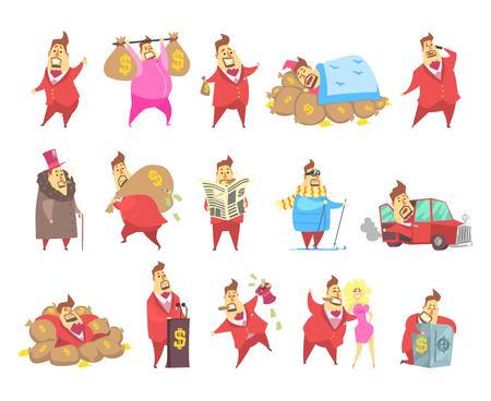 Hommes riches en graisses millionnaires en costume rouge, drôle de personnage capitaliste dans différentes situations vector Illustrations sur fond blanc