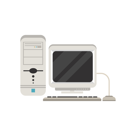 Retro personal computer vector Illustration isolated on a white background.