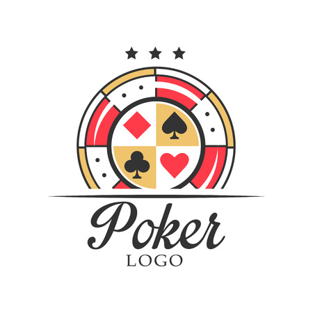 Poker, vintage emblem with dice for poker club, casino, championship vector Illustration on a white background