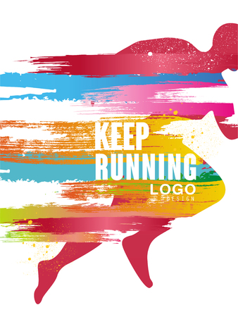 Keep running gesign, colorful poster template for sport event, marathon, championship, can be used for card, banner, print, leaflet vector Illustration Çizim