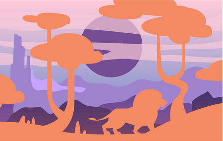 Beautiful scene of nature, peaceful savannah landscape with lion, template for banner, poster, magazine, cover horizontal vector Illustration, web design