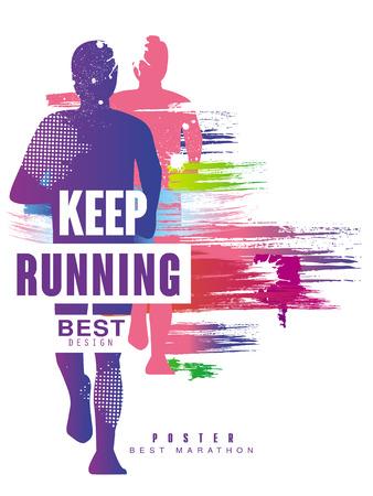 Continua a correre il miglior modello di poster colorato gesign per evento sportivo, maratona, campionato, può essere utilizzato per carta, banner, stampa, illustrazione vettoriale volantino Vettoriali
