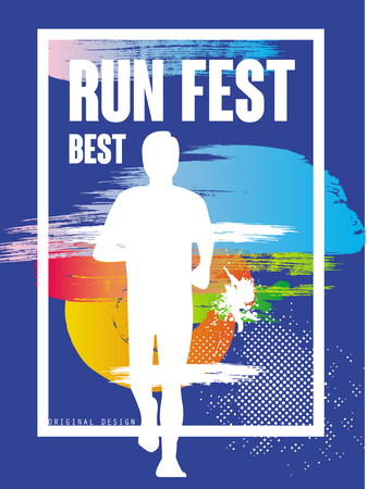 Run feat best, colorful poster template for sport event, marathon, championship, can be used for card, banner, print, leaflet vector Illustration