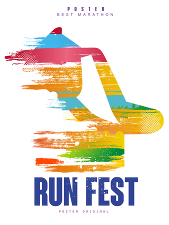 Run fest poster template for sport event, marathon, championship, can be used for card, banner, print, leaflet vector Illustration