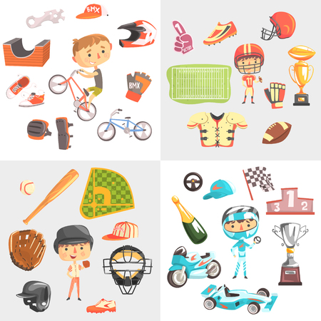 Sport for kids including baseball, american football, bmx cycling, car racing, boys in sports uniforms with equipment vector Illustrations isolated on a white background. 向量圖像