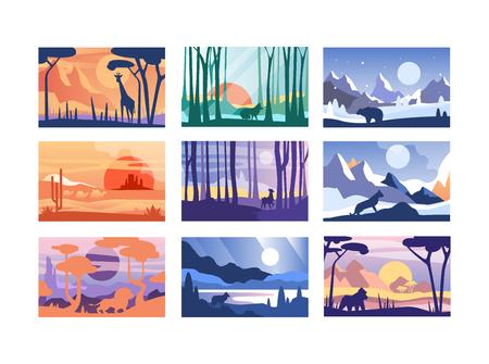 Raccolta di bella scena della natura, paesaggio tranquillo con animali selvatici in diversi momenti della giornata, modelli per banner, poster, riviste, copertina orizzontale vettoriale illustrazione