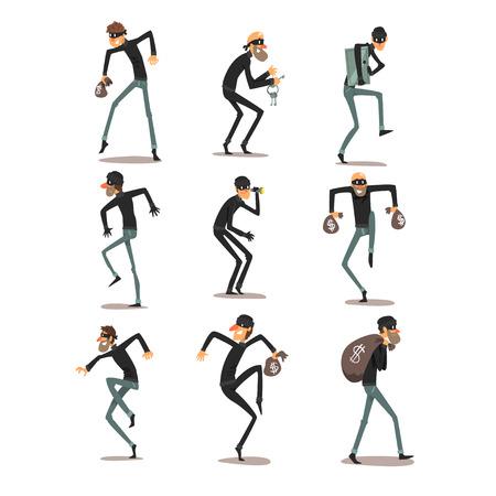 Mannelijke dief in masker set, rover stripfiguren misdaden vector illustraties geïsoleerd op een witte achtergrond. Vector Illustratie