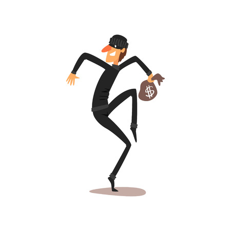 Male thief stealing with small money bag, robber cartoon character committing crime vector Illustration isolated on a white background. Illustration
