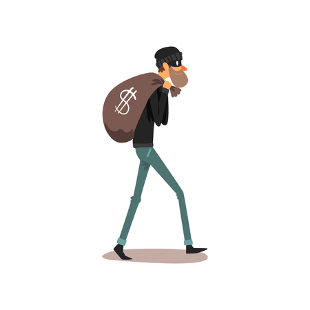 Male thief carrying money bag, robber cartoon character committing crime vector Illustration on a white background Illustration