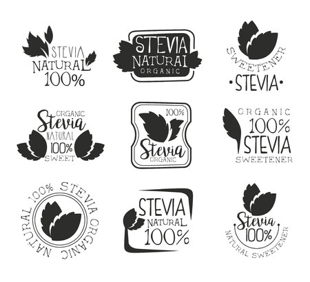 Stevia organic product set, natural sweetener black and white badge, label, sticker vector Illustrations on a white background Ilustração